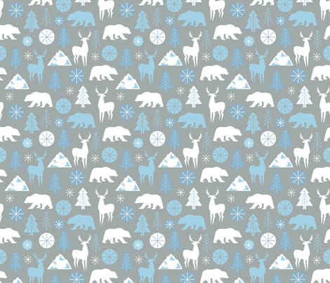 Frosty Frolic - Light fabric by lellobird on Spoonflower - custom fabric