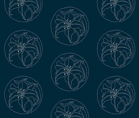 Lily Sashiko Floral fabric by crafty_bug_lady on Spoonflower - custom fabric