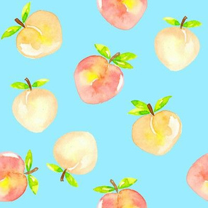 Peaches watercolour on blue