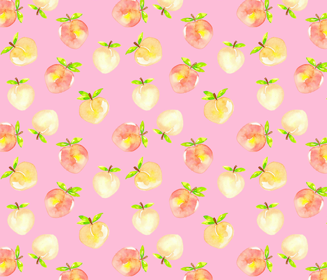 Peaches watercolour on pink fabric by sylviaoh on Spoonflower - custom fabric