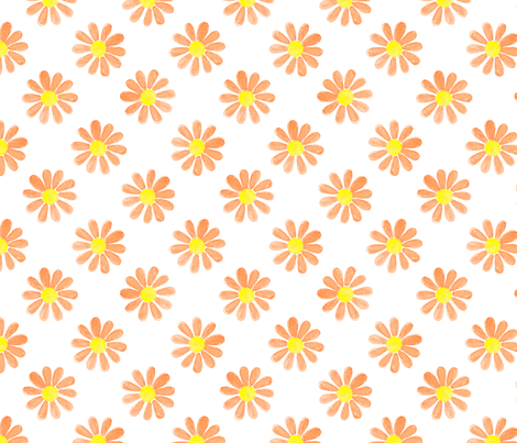 Daisy_watercolour_orange fabric by sylviaoh on Spoonflower - custom fabric