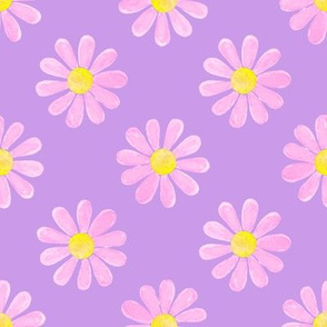 Daisy_watercolour_pastel_pink_on_purple