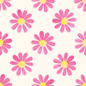 Daisy_watercolour_hot pink_on_cream