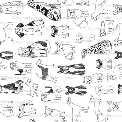 dogs // black and white railroad dog pet design hand-drawn by andrea lauren