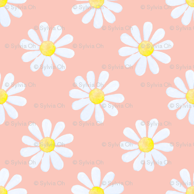 Daisy_watercolour_pale_blue_on_coral