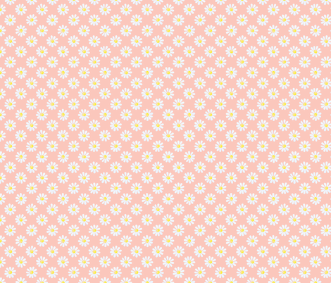 Daisy_watercolour_pale_blue_on_coral fabric by sylviaoh on Spoonflower - custom fabric
