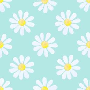 Daisy_watercolour_pale_blue_on_mint