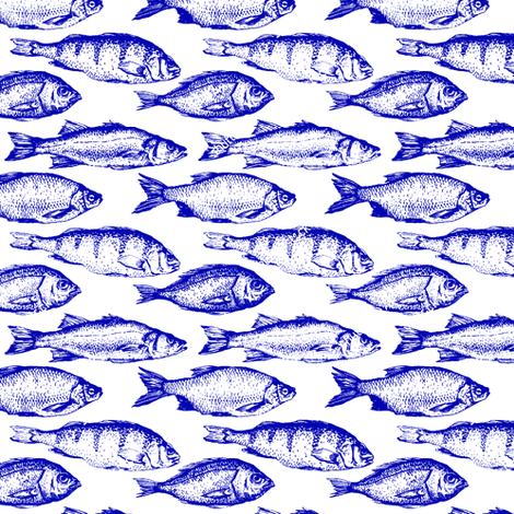 Blue Fish Sketches fabric by thinlinetextiles on Spoonflower - custom fabric