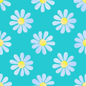 Daisy_watercolour_blue_on_teal