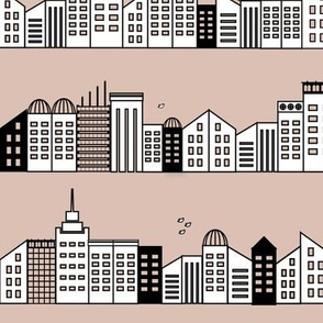 City buildings - blush dusty pink