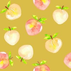 Peaches_watercolour_on_mustard