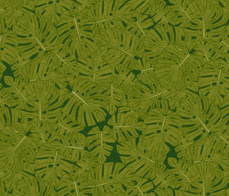 monstera leaves fabric by scrummy on Spoonflower - custom fabric