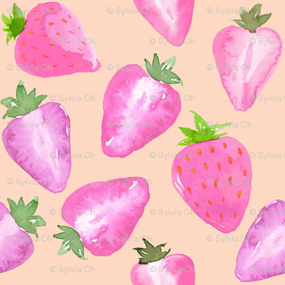 Strawberries_Watercolour_pink_hue_on_blush
