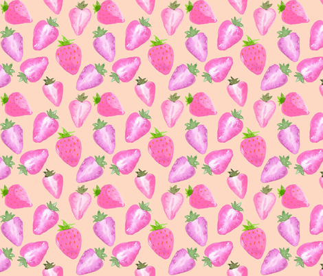 Strawberries_Watercolour_pink_hue_on_blush fabric by sylviaoh on Spoonflower - custom fabric