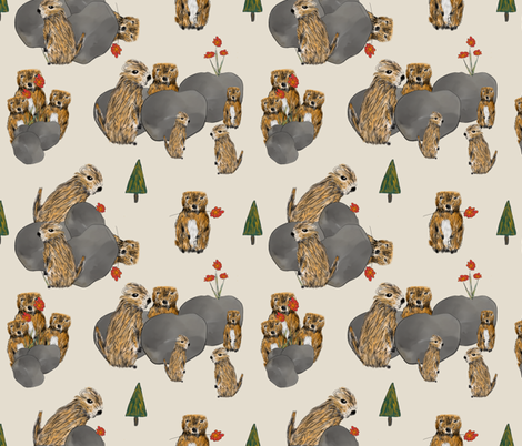 Cute Alpine Marmots fabric by boundingsquirrel on Spoonflower - custom fabric