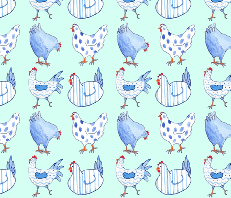 Chicken Blue fabric by floramoon on Spoonflower - custom fabric