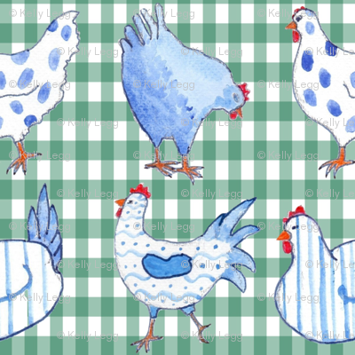 Chickens on Duck Egg Gingham
