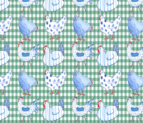 Chickens on Duck Egg Gingham fabric by floramoon on Spoonflower - custom fabric