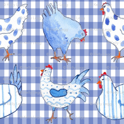 Chickens on Blue Gingham
