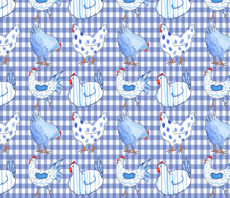 Chickens on Blue Gingham fabric by floramoon on Spoonflower - custom fabric