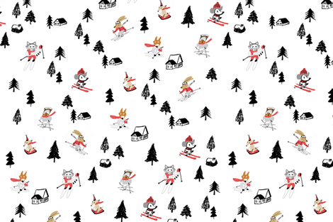 Mountain skiing fabric by canigrin on Spoonflower - custom fabric