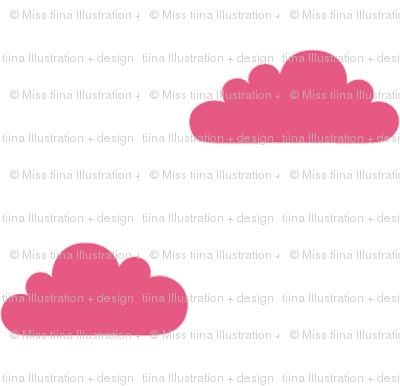 mod baby tiny clouds hot pink on white
