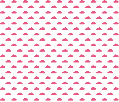 mod baby tiny clouds hot pink on white fabric by misstiina on Spoonflower - custom fabric