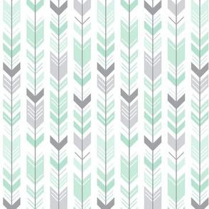 herringbone arrows mint green