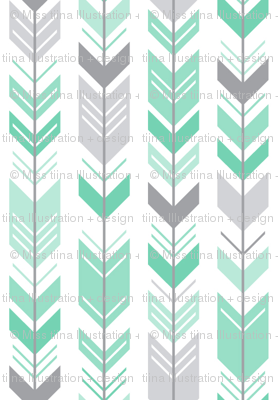 herringbone arrows sea foam green