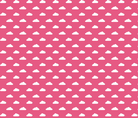 mod baby tiny clouds white on hot pink fabric by misstiina on Spoonflower - custom fabric