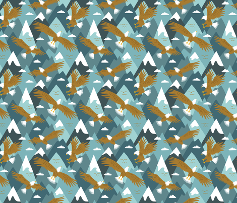 Eagle in the mountain sky (small) fabric by heleen_vd_thillart on Spoonflower - custom fabric
