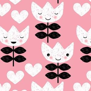 Sweet pastel tulip flowers blossom kawaii love pastel pink print LARGE
