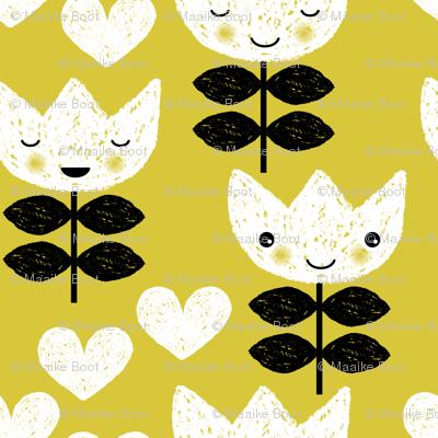 Sweet pastel spring tulip flowers blossom kawaii love mustard yellow print LARGE
