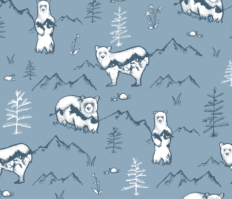 Bears & Mountains fabric by jody_mcmullen on Spoonflower - custom fabric