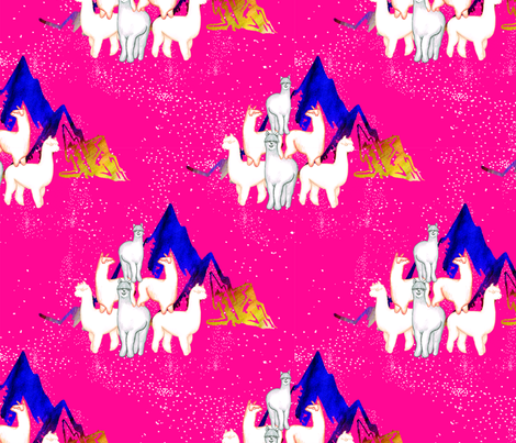 Alpaca Pyramid Mountain Patronus fabric by flockofnarwhals on Spoonflower - custom fabric