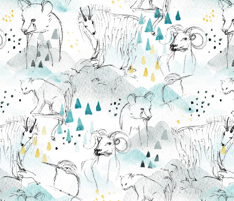 High in the Mountains - © Lucinda Wei fabric by lucindawei on Spoonflower - custom fabric