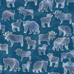 mountain animals in blue watercolor