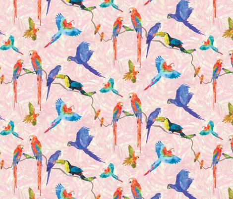 Rainforest Birds - Pink fabric by robinskarbek on Spoonflower - custom fabric