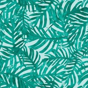 Rainforest Leaves - Aqua