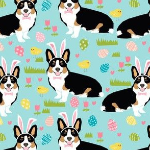 Tri colored corgi easter fabric - pastel easter egg easter bunny dogs fabric