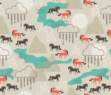 Wild Horses fabric by papercanoefabricshop on Spoonflower - custom fabric