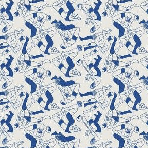 Wrestling blue and white