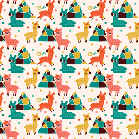 Alpaca and Mountains fabric by bora on Spoonflower - custom fabric