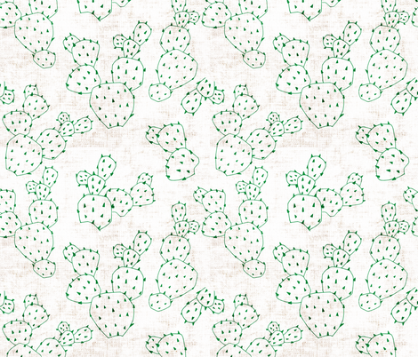 FRENCH_LINEN_CACTUS fabric by holli_zollinger on Spoonflower - custom fabric
