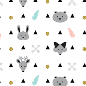 Geometric Mountain Animals with Black  Triangles, Feathers and Golden Glitter / Baby Nursery Animals Blush Pink