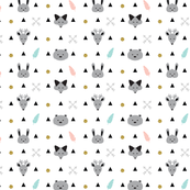 Geometric Baby Nursery Mountain Animals with Black Triangles and Golden Glitter