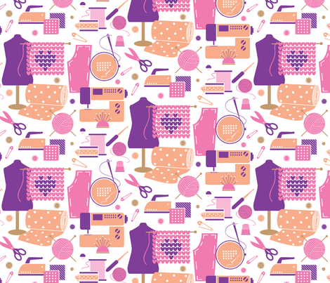 Craft Print Large - pink fabric by malibu_creative on Spoonflower - custom fabric