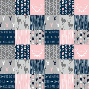 "3"" Patchwork deer - navy, pink, gray Wholecloth quilt"