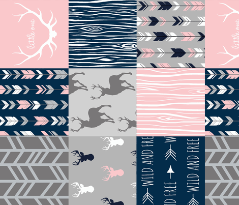 Patchwork Deer and Arrow - Littleone Wholecloth in pink, navy, grey fabric by sugarpinedesign on Spoonflower - custom fabric