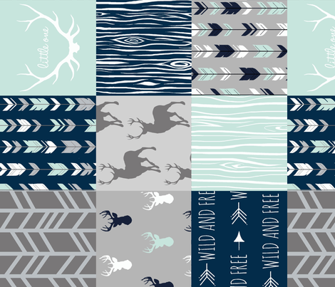 Wholecloth Patchwork Deer in navy, grey and mint. Rotated. Elk, arrows, woodgrain fabric by sugarpinedesign on Spoonflower - custom fabric